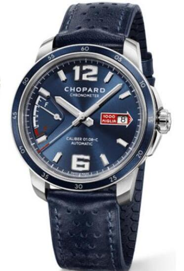 The oversized hour markers are striking on the blue dial.