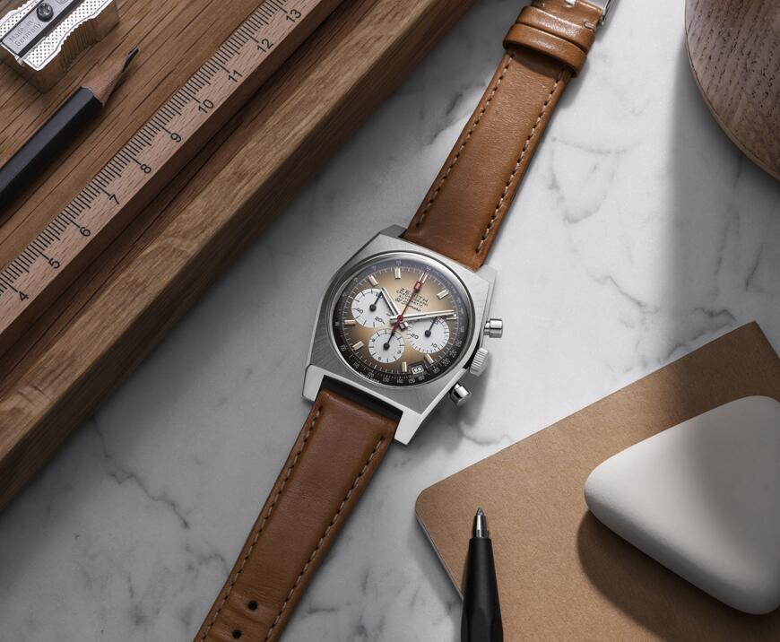 Swiss fake watches form elegance with leather straps.
